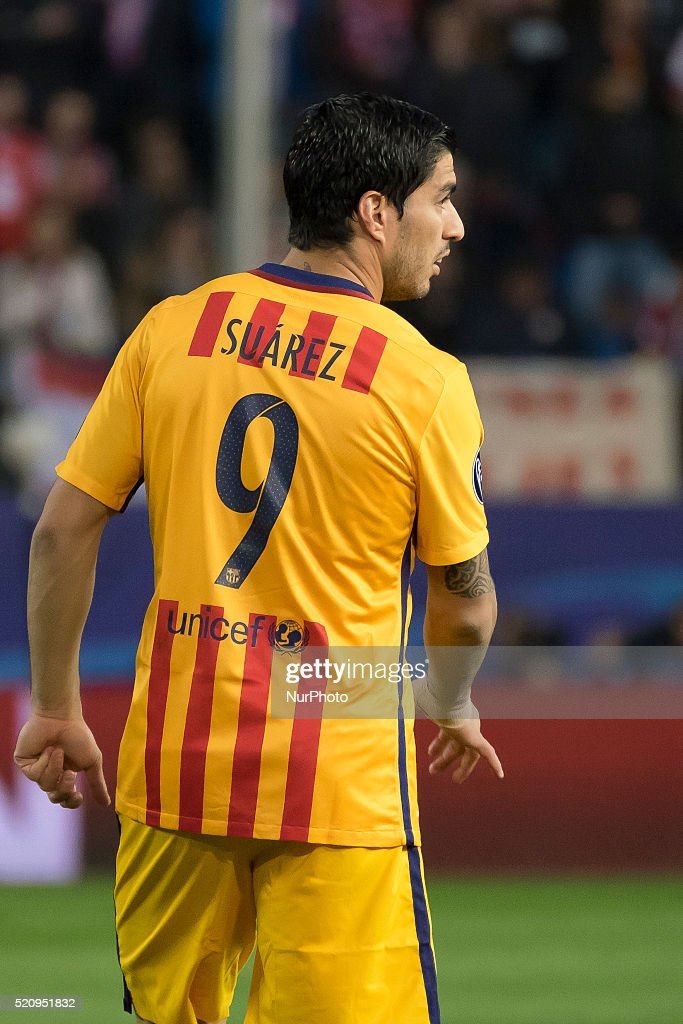 Luis Suarez of Barcelona during the UEFA Champions League quarter final, second leg match between Club Atletico de Madrid and FC Barcelona at the Vincente Calderon on April 13, 2016 in Madrid, Spain.