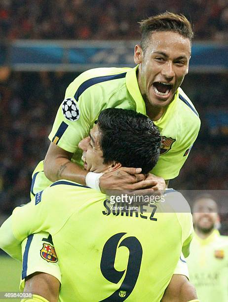Luis Suarez of Barcelona FC celebrate his second with Neymar jr during the UEFA Champions League Quarter Final: First leg between Paris Saint-Germain...