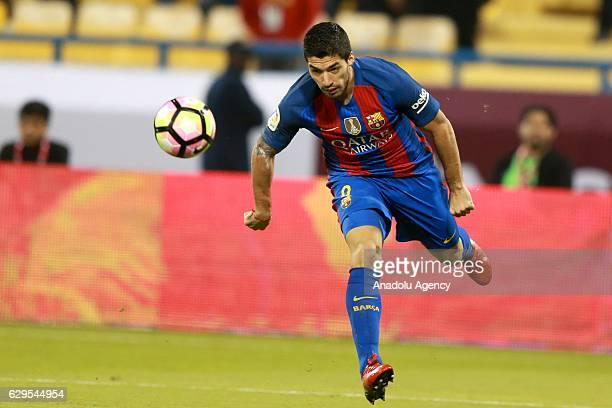 Luis Suarez of Barcelona in action during a friendly soccer match between Al-Ahli Saudi and Barcelona at Al-Gharrafa Stadium in Doha, Qatar on...