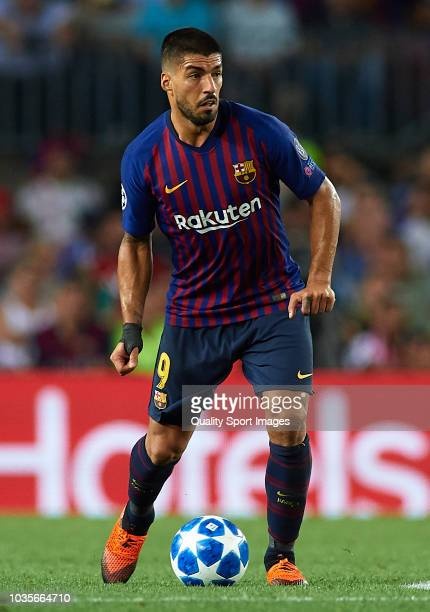 Luis Suarez of Barcelona in action during the Group B match of the UEFA Champions League between FC Barcelona and PSV at Camp Nou on September 18...