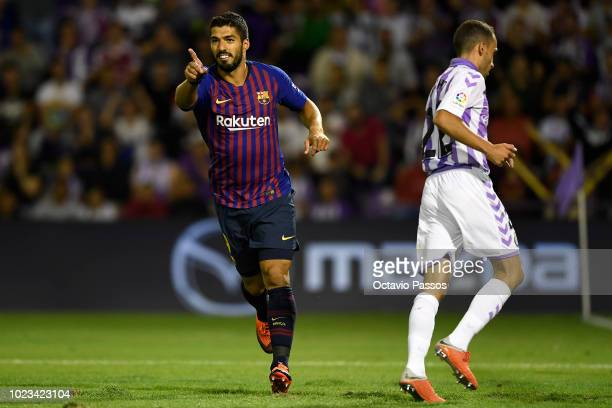Luis Suarez of Barcelona in action during the La Liga match between Real Valladolid CF and FC Barcelona at Jose Zorrilla on August 25 2018 in...