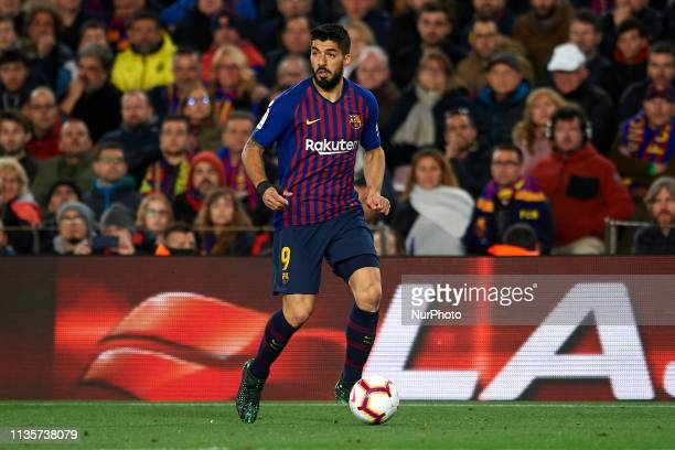 Luis Suarez of Barcelona in action during the La Liga match between FC Barcelona and Club Atletico de Madrid at Camp Nou on April 6 2019 in Barcelona...