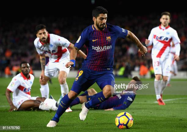 Luis Suarez of Barcelona in action during the La Liga match between Barcelona and Deportivo Alaves at Camp Nou on January 28 2018 in Barcelona Spain