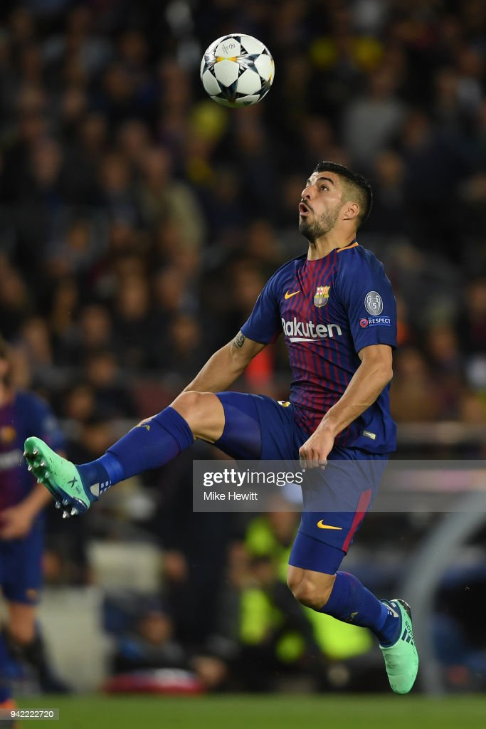 Luis Suarez of Barcelona in action during the UEFA Champions League Quarter Final Leg One between FC Barcelona and AS Roma at Camp Nou on April 4, 2018 in Barcelona, Spain.