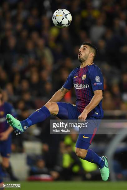Luis Suarez of Barcelona in action during the UEFA Champions League Quarter Final Leg One between FC Barcelona and AS Roma at Camp Nou on April 4...