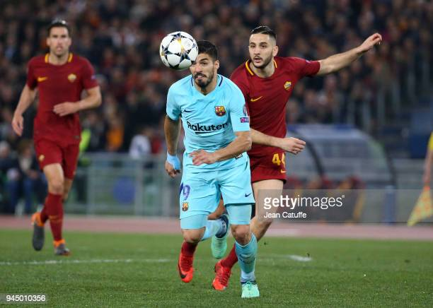 Luis Suarez of Barcelona Kostas Manolas of AS Roma during the UEFA Champions League Quarter Final second leg match between AS Roma and FC Barcelona...