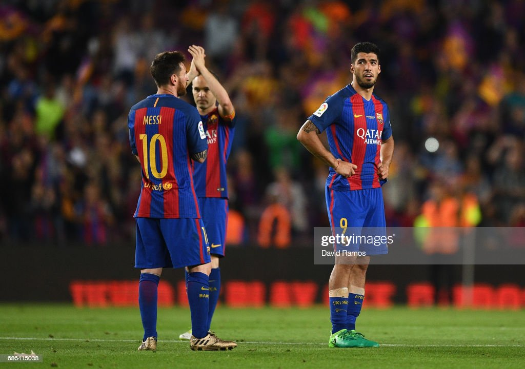 Luis Suarez of Barcelona looks dejected after the La Liga match between Barcelona and Eibar at Camp Nou on 21 May, 2017 in Barcelona, Spain.