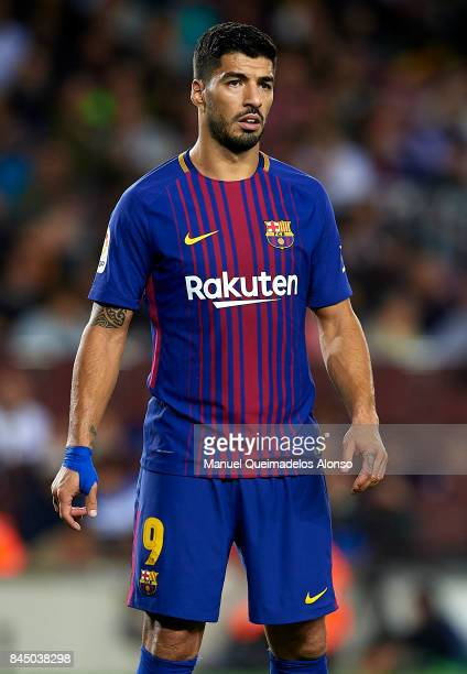 Luis Suarez of Barcelona looks on during the La Liga match between Barcelona and Espanyol at Camp Nou on September 9 2017 in Barcelona Spain