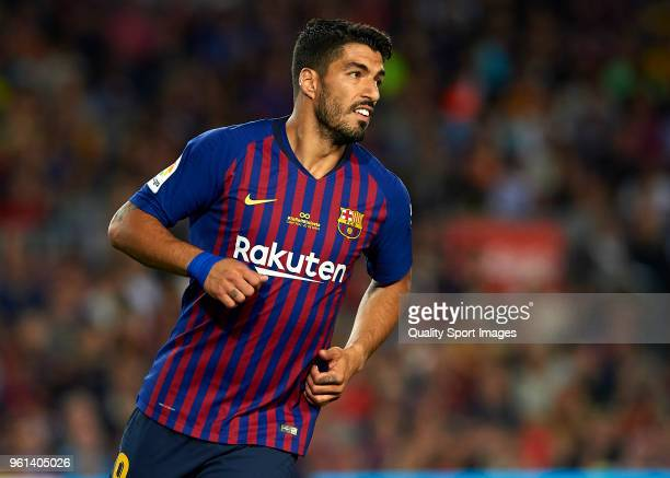 Luis Suarez of Barcelona looks on during the La Liga match between Barcelona and Real Sociedad at Camp Nou on May 20 2018 in Barcelona Spain