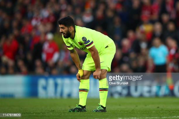 Luis Suarez of Barcelona looks on during the UEFA Champions League Semi Final second leg match between Liverpool and Barcelona at Anfield on May 07...