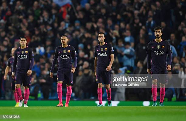 Luis Suarez of Barcelona Neymar of Barcelona Sergio Busquets of Barcelona and Andre Gomes of Barcelona are dejected after Kevin De Bruyne of...