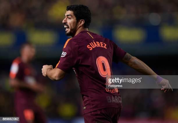 Luis Suarez of Barcelona reacts during the La Liga match between Villarreal and Barcelona at Estadio La Ceramica on December 10 2017 in Villarreal...
