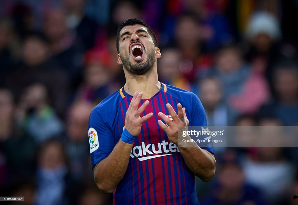 Luis Suarez of Barcelona reacts during the La Liga match between Barcelona and Getafe at Camp Nou on February 11, 2018 in Barcelona, Spain.
