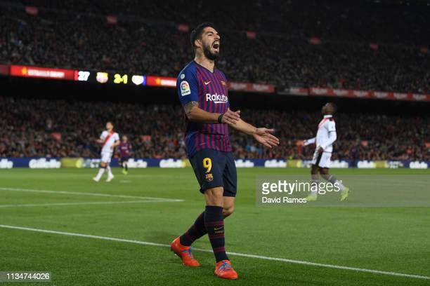 Luis Suarez of Barcelona reacts during the La Liga match between FC Barcelona and Rayo Vallecano de Madrid at Camp Nou on March 09 2019 in Barcelona...