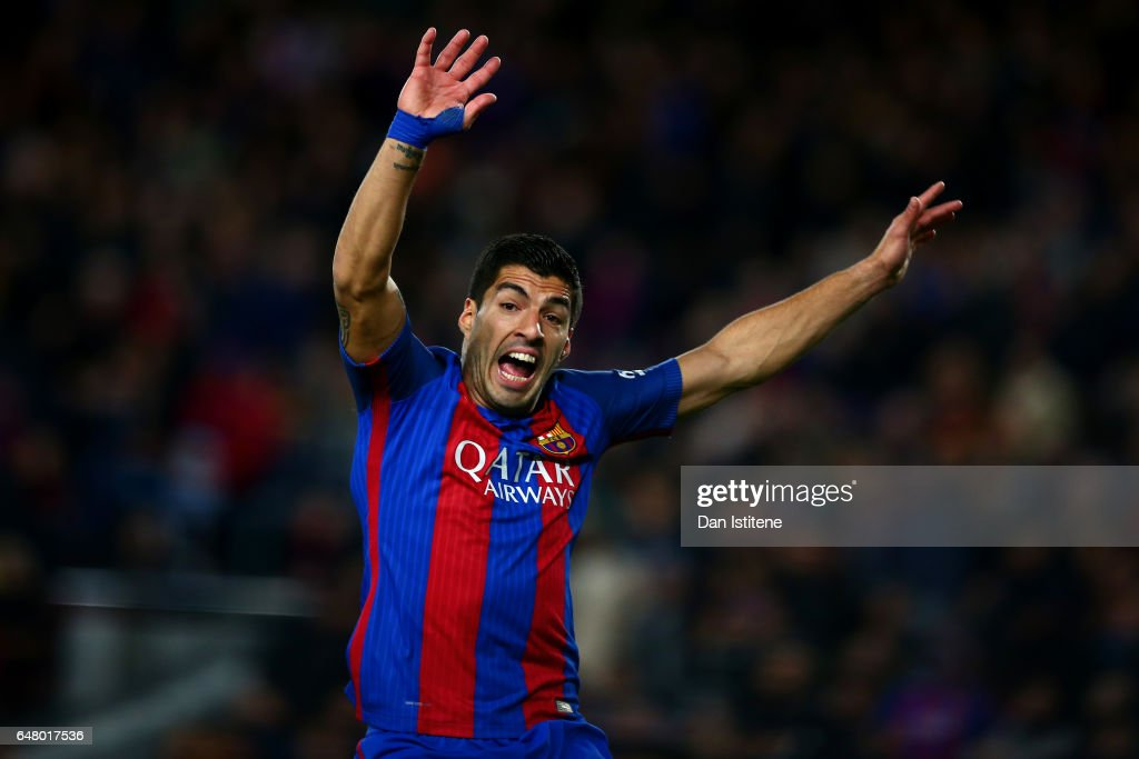 Luis Suarez of Barcelona reacts during the La Liga match between FC Barcelona and RC Celta de Vigo at the Camp Nou on March 4, 2017 in Barcelona, Spain.