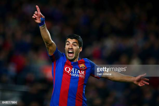 Luis Suarez of Barcelona reacts during the La Liga match between FC Barcelona and RC Celta de Vigo at the Camp Nou on March 4 2017 in Barcelona Spain