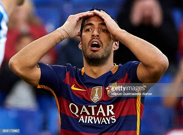 Luis Suarez of Barcelona reacts during the La Liga match between Real CD Espanyol and FC Barcelona at CornellaEl Prat Stadium on January 2 2016 in...