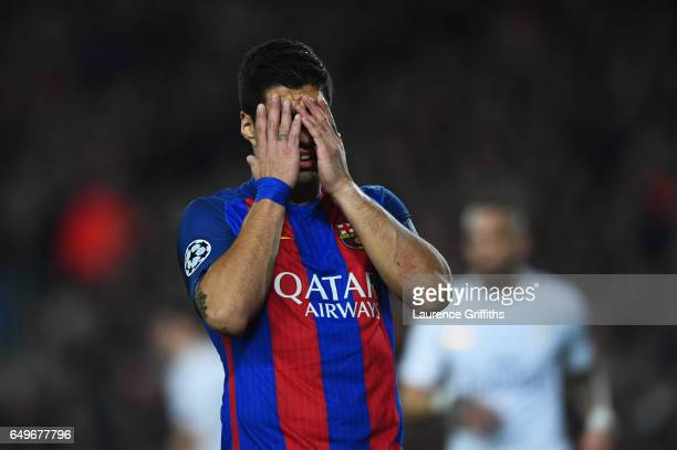 Luis Suarez of Barcelona reacts during the UEFA Champions League Round of 16 second leg match between FC Barcelona and Paris SaintGermain at Camp Nou...