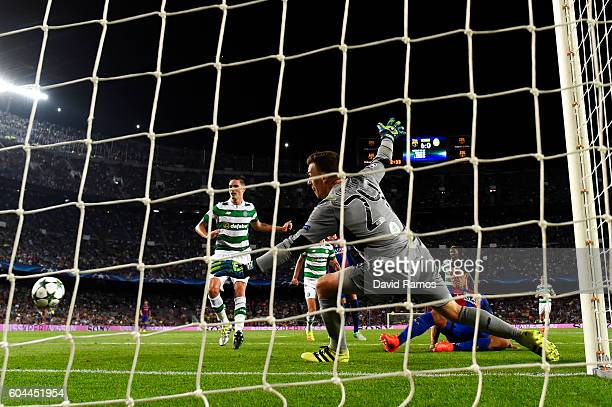 Luis Suarez of Barcelona scores his sides seventh goal during the UEFA Champions League Group C match between FC Barcelona and Celtic FC at Camp Nou...