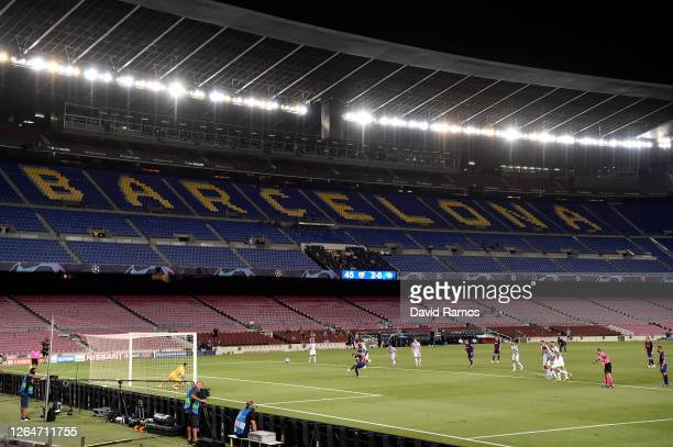 Luis Suarez of Barcelona scores his sides third goal from the penalty spot during the UEFA Champions League round of 16 second leg match between FC...