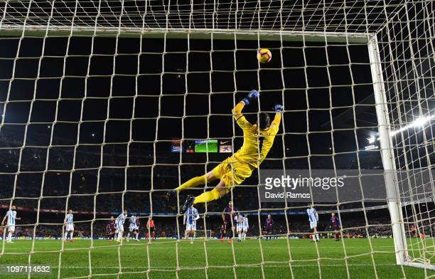 Luis Suarez of Barcelona scores his team's second goal past Ivan Cuellar of Leganes during the La Liga match between FC Barcelona and CD Leganes at...