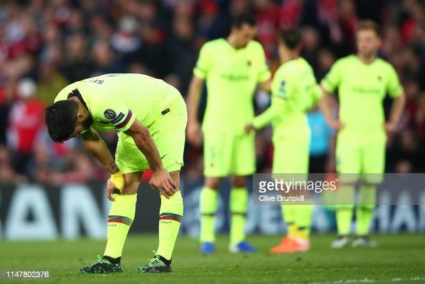 Luis Suarez of Barcelona shows his dejection during the UEFA Champions League Semi Final second leg match between Liverpool and Barcelona at Anfield...