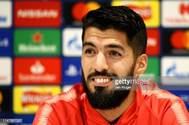 Luis Suarez of Barcelona speaks to the media during the Barcelona press conference on the eve of the UEFA Champions League Semi Final second leg...