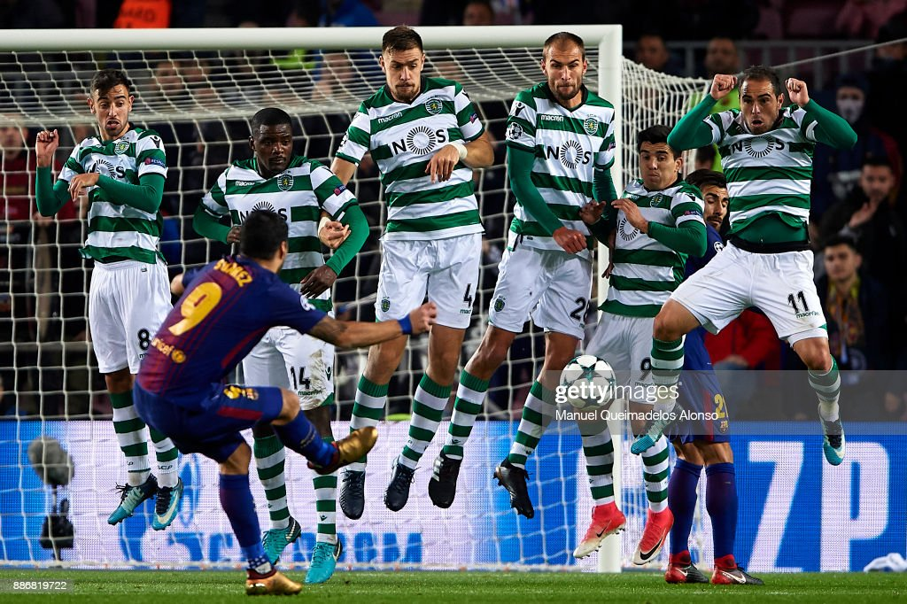 Luis Suarez of Barcelona takes a direct free kick during the UEFA Champions League group D match between FC Barcelona and Sporting CP at Camp Nou on December 5, 2017 in Barcelona, Spain.
