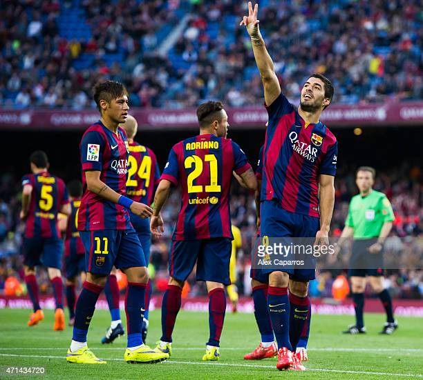 Luis Suarez of celebrates after scoring his team's second goal during the La Liga match between FC Barcelona and Getafe CF at Camp Nou on April 28...