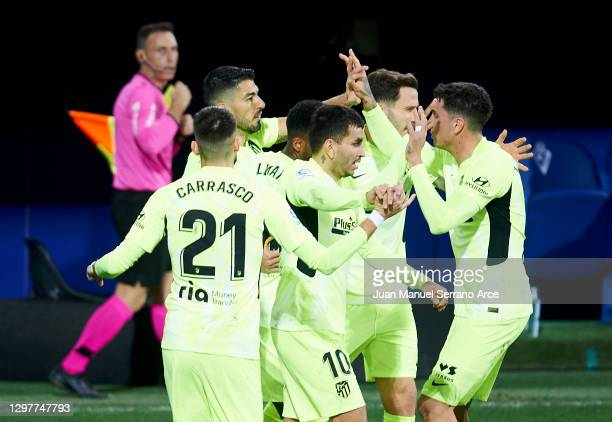 Luis Suarez of Club Atletico de Madrid celebrates after scoring goal during the La Liga Santander match between SD Eibar and Atletico de Madrid at...
