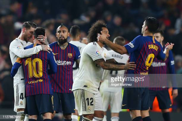 Luis Suarez of FC Barcelona and Marcelo Vieira of Real Madrid CF talk at the end of the Copa del Semi Final first leg match between Barcelona and...