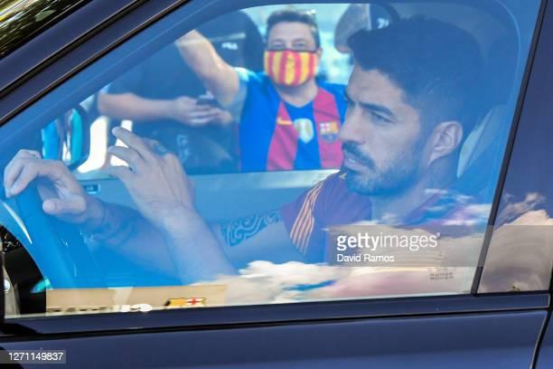 Luis Suarez of FC Barcelona arrives at Joan Gamper Ciutat Esportiva for a training session on September 07, 2020 in Sant Joan Despi, in Barcelona,...