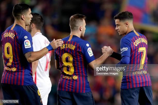 Luis Suarez of FC Barcelona Arthur of FC Barcelona Philippe Coutinho of FC Barcelona during the La Liga Santander match between FC Barcelona v...