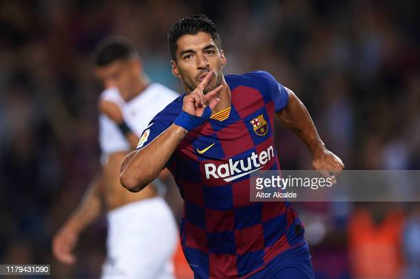 Luis Suarez of FC Barcelona cel during the Liga match between FC Barcelona and Sevilla FC at Camp Nou on October 06, 2019 in Barcelona, Spain.