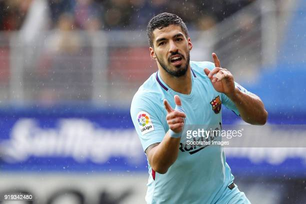 Luis Suarez of FC Barcelona celebrates 01 during the La Liga Santander match between Eibar v FC Barcelona at the Estadio Municipal de Ipurua on...