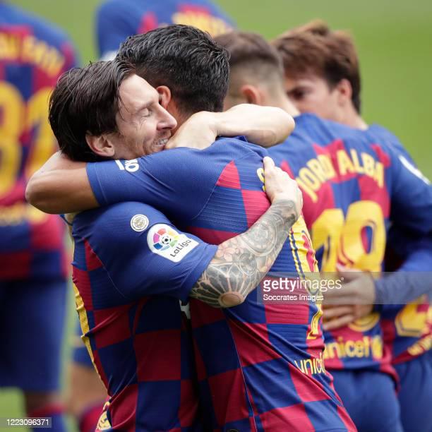 Luis Suarez of FC Barcelona celebrates 01 with Lionel Messi of FC Barcelona during the La Liga Santander match between Celta de Vigo v FC Barcelona...