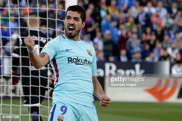 Luis Suarez of FC Barcelona celebrates 02 during the Spanish Primera Division match between Leganes v FC Barcelona at the Estadio Municipal de...