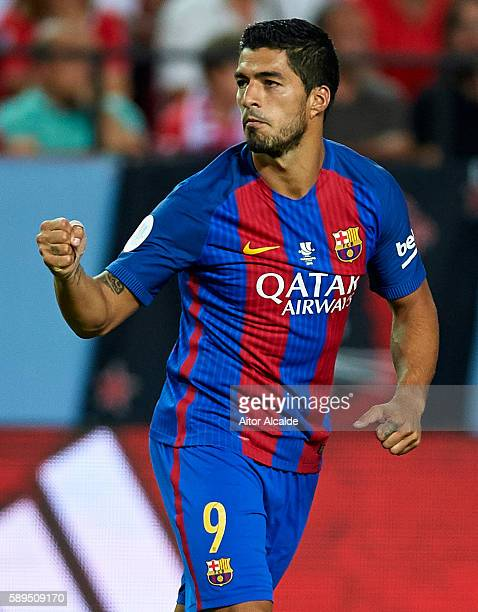 Luis Suarez of FC Barcelona celebrates after scoring during the match between Sevilla FC vs FC Barcelona as part of the Spanish Super Cup Final 1st...