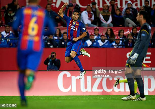 Luis Suarez of FC Barcelona celebrates after scoring during the match between Sevilla FC vs FC Barcelona as part of La Liga at Ramon Sanchez Pizjuan...