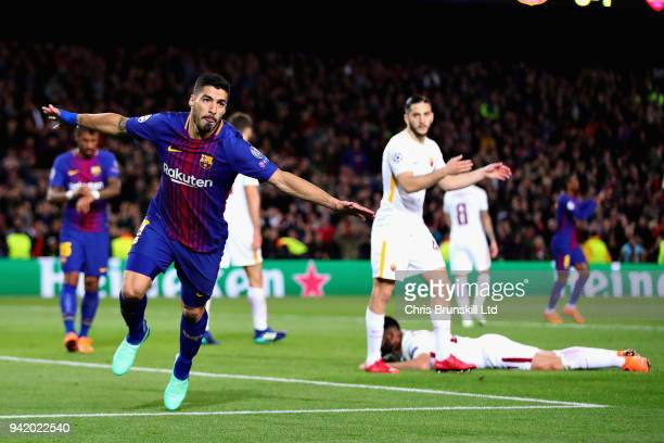 Luis Suarez of FC Barcelona celebrates after scoring his sides fourth goal during the UEFA Champions League Quarter Final first leg match between FC...