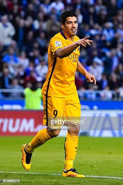 Luis Suarez of FC Barcelona celebrates after scoring his team's fifth goal during the La Liga match between RC Deportivo La Coruna and FC Barcelona...