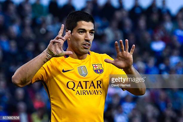 Luis Suarez of FC Barcelona celebrates after scoring his team's fifth goal during the La Liga match between RC Deportivo La Coruna and FC Barcelona...
