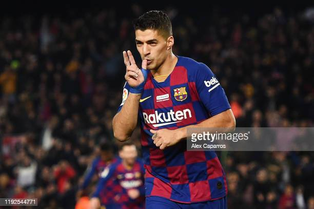 Luis Suarez of FC Barcelona celebrates after scoring his team's fourth goal during the Liga match between FC Barcelona and RCD Mallorca at Camp Nou...