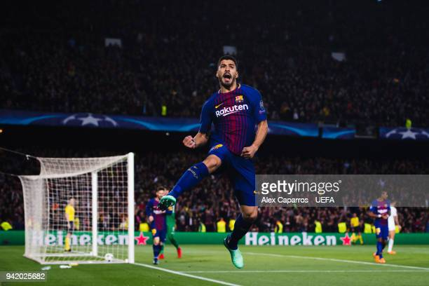 Luis Suarez of FC Barcelona celebrates after scoring his team's fourth goal during the UEFA Champions League Quarter Final Leg One match between FC...