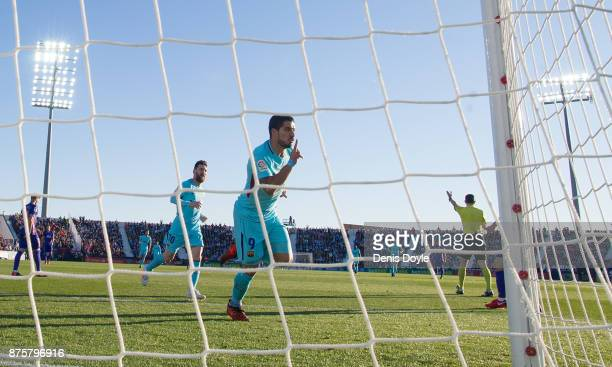 Luis Suarez of FC Barcelona celebrates after scoring his teamÕs opening goal during the La Liga match between Leganes and Barcelona at Estadio...