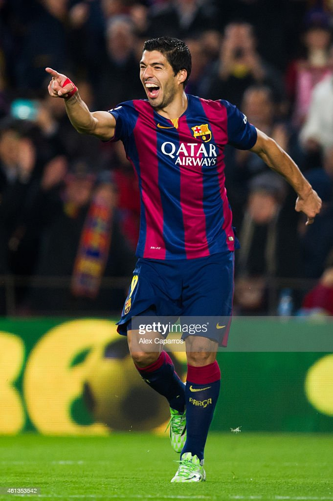 Luis Suarez of FC Barcelona celebrates after scoring his team's second goal during the La Liga match between FC Barcelona and Club Atletico de Madrid at Camp Nou on January 11, 2015 in Barcelona, Spain.