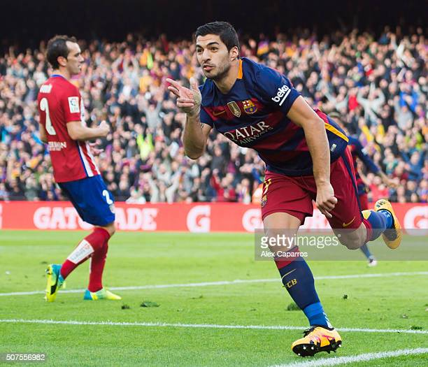 Luis Suarez of FC Barcelona celebrates after scoring his team's second goal during the La Liga match between FC Barcelona and Club Atletico de Madrid...