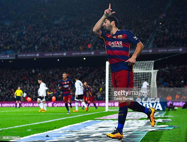 Luis Suarez of FC Barcelona celebrates after scoring his team's sixth goal during the Copa del Rey Semi Final first leg match between FC Barcelona...