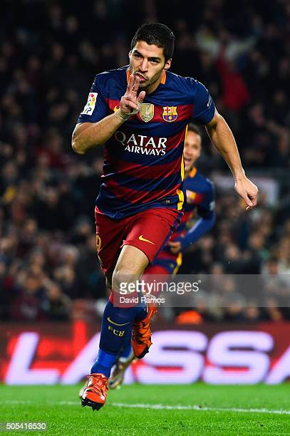 Luis Suarez of FC Barcelona celebrates after scoring his team's third goal the La Liga match between FC Barcelona and Athletic Club de Bilbao at Camp...