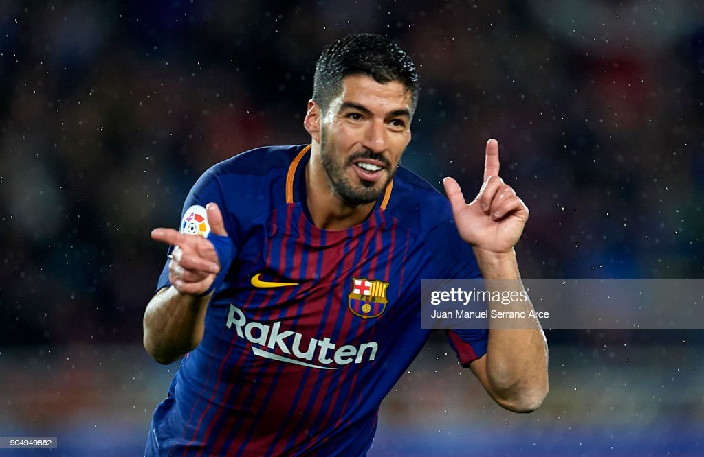 Luis Suarez of FC Barcelona celebrates after scoring his team's third goal during the La Liga match between Real Sociedad and FC Barcelona at Estadio Anoeta on January 14, 2018 in San Sebastian, Spain.